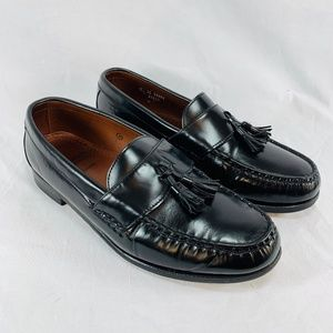 Black Leather Wide Loafers Shoes - Men's 10 W